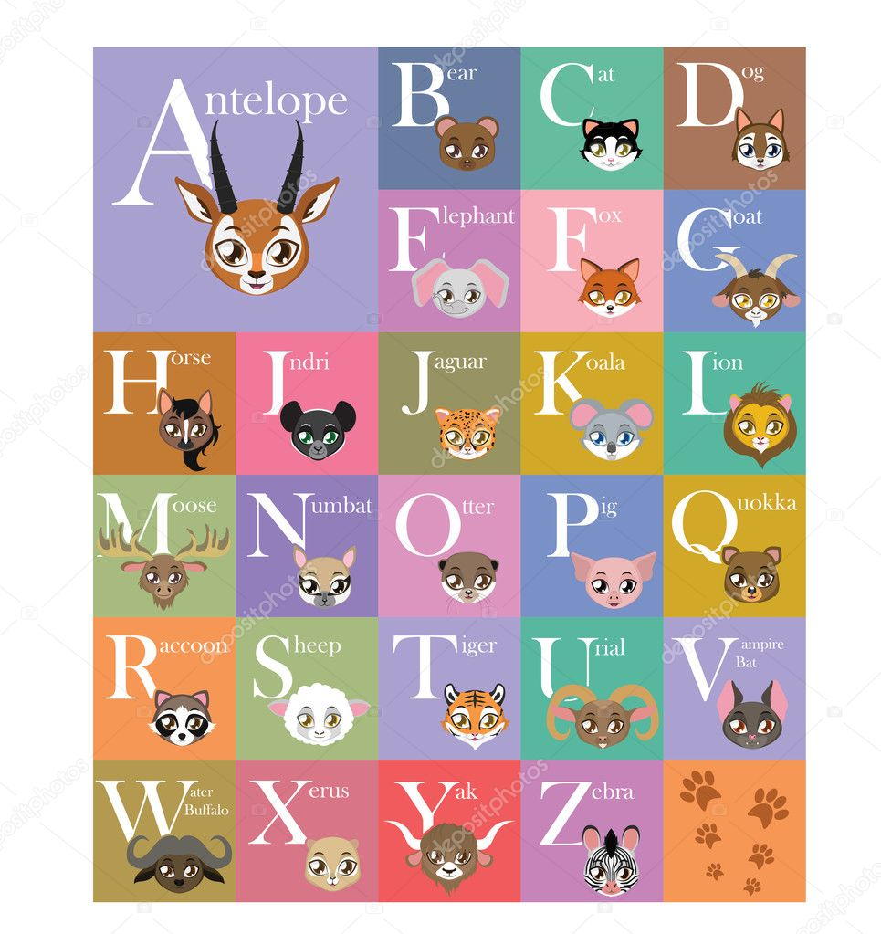 cute and colorful animal alphabet ストックベクター agnessz