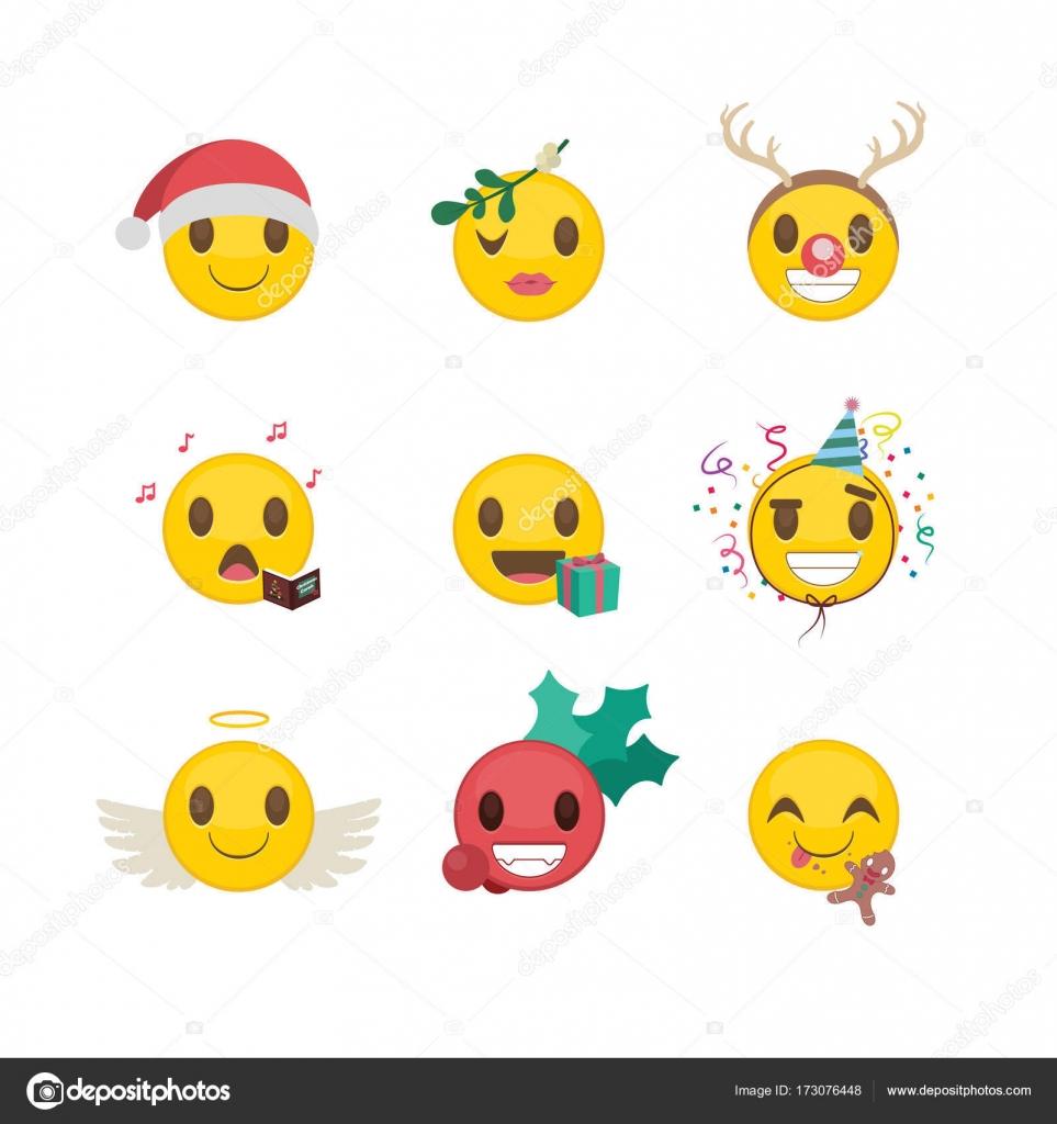 Satz von Weihnachten/Neujahr lustige smileys — Stockvektor © AgnesSz ...