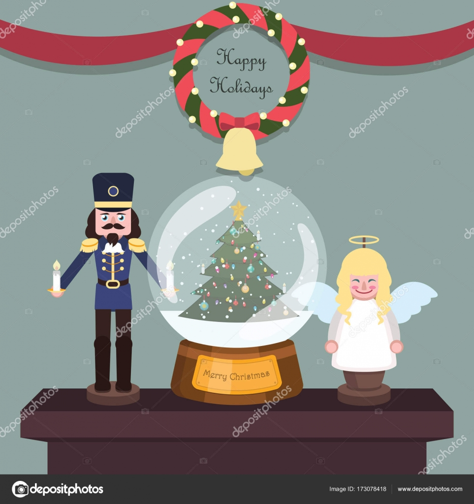 Indoor Christmas Scene With Figurines And Snowglobe Stock Vector