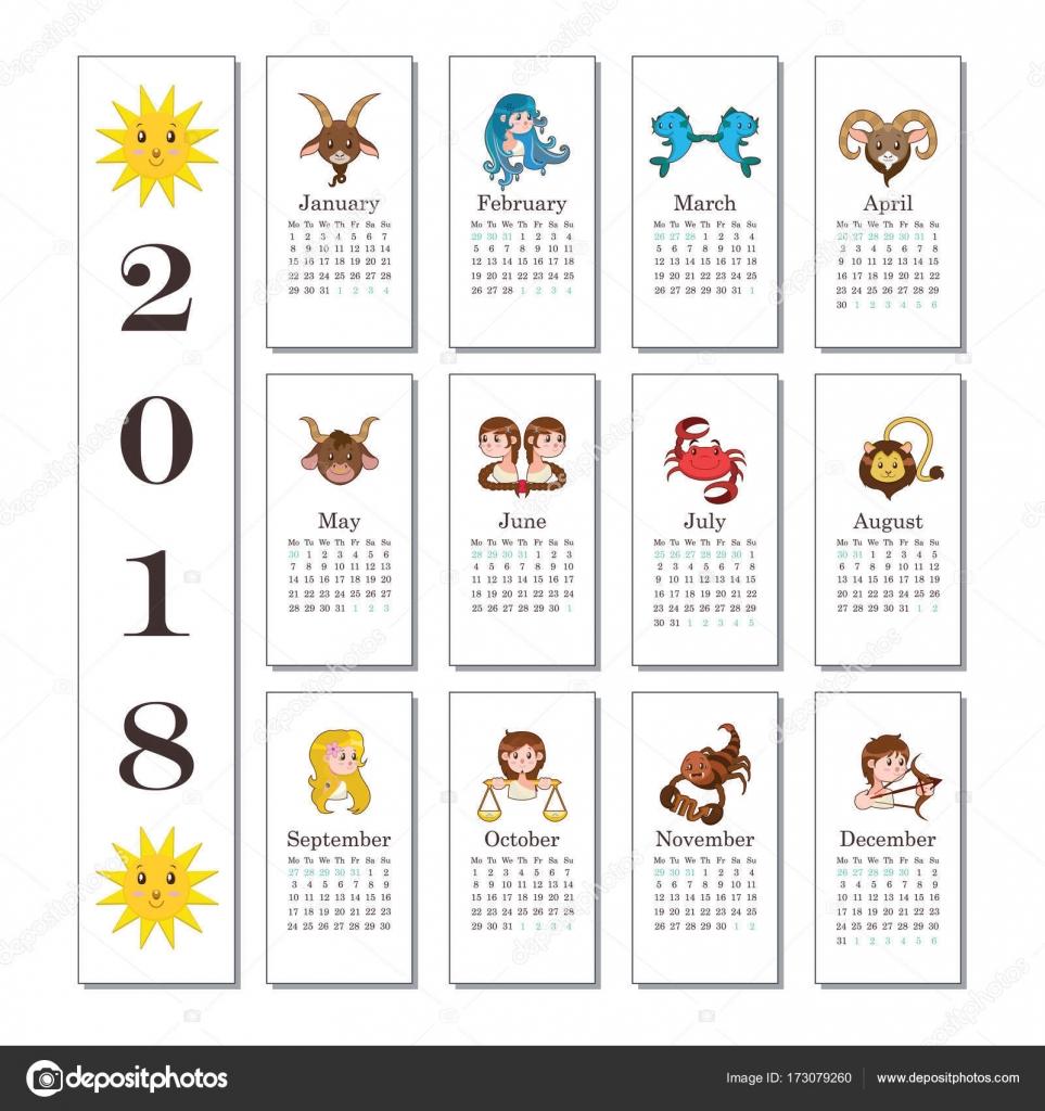 Calendario con simpatico cartone animato segni dello