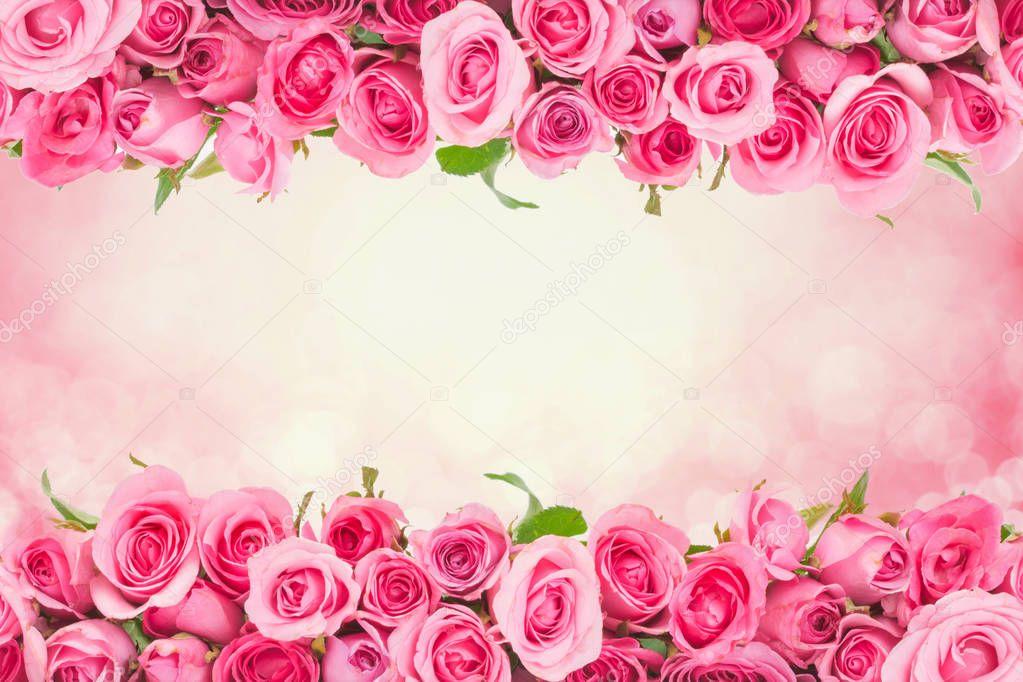 Frontière De Belle Douce Douce Rose Rose Pour Le Fond De L