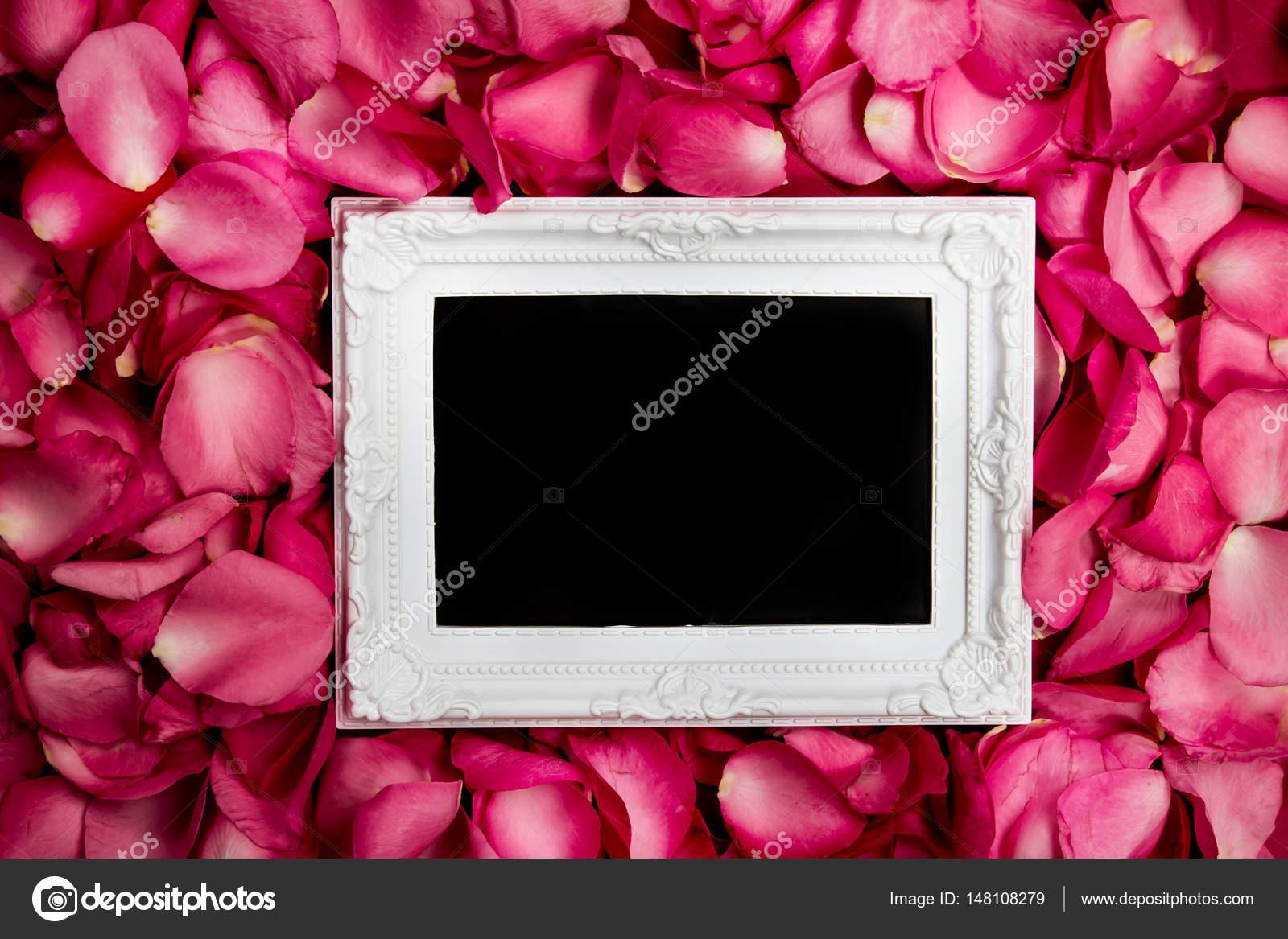 Marco vacío con pétalo de rosas dulces, romance y l — Fotos de Stock ...
