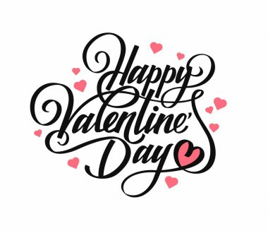 Phrase Happy Valentine's Day. Calligraphy. Black text on white with symbols heart. For gift cards. Vector illustration.