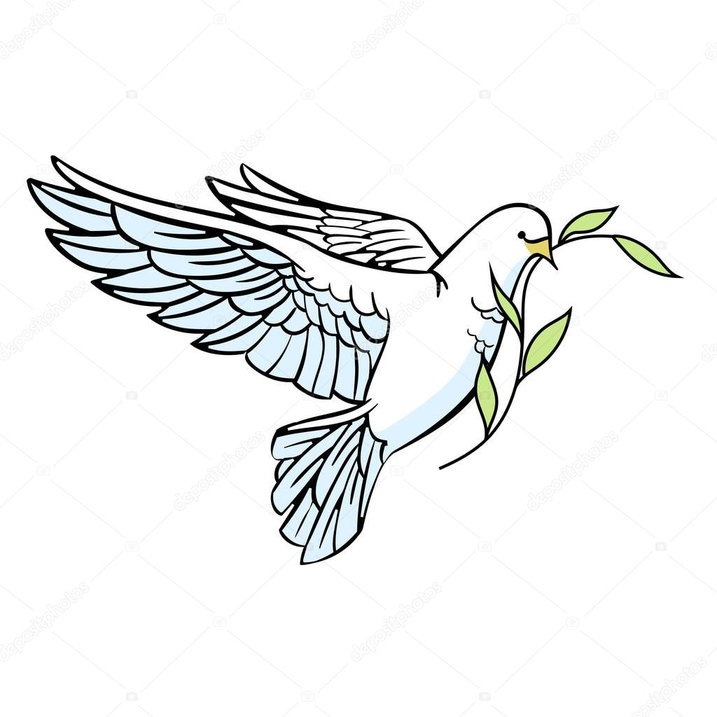 White Dove With An Olive Branch In Its Beak Christian Plot Isolated On A White Background Cartoon Style Vector Illustration Premium Vector In Adobe Illustrator Ai Ai Format Encapsulated
