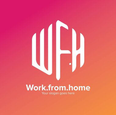 Illustration of work from home sign and symbol