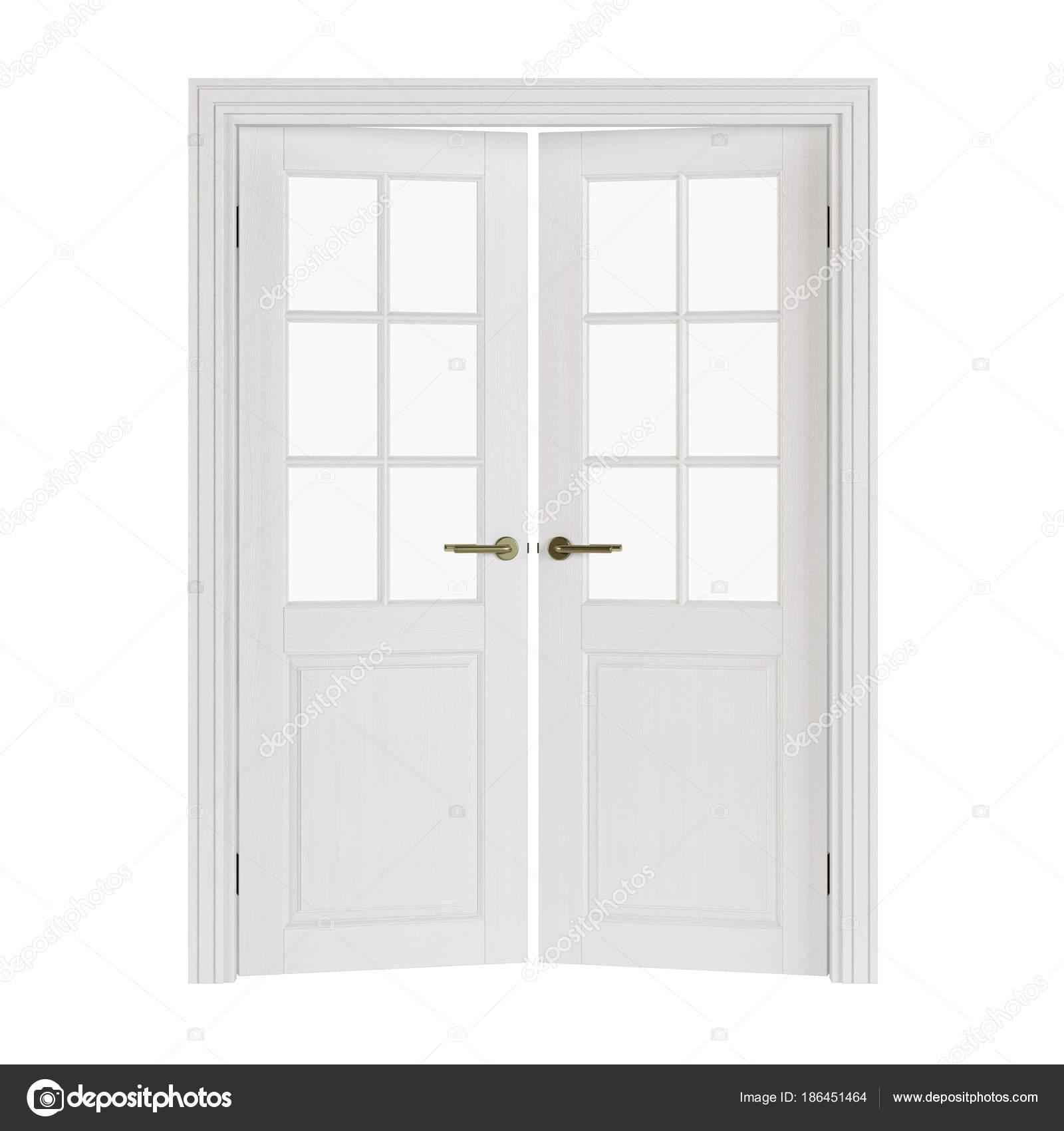 Zweiflügelige Türen Mit Glas Innentüren Isoliert Auf Weißem ...