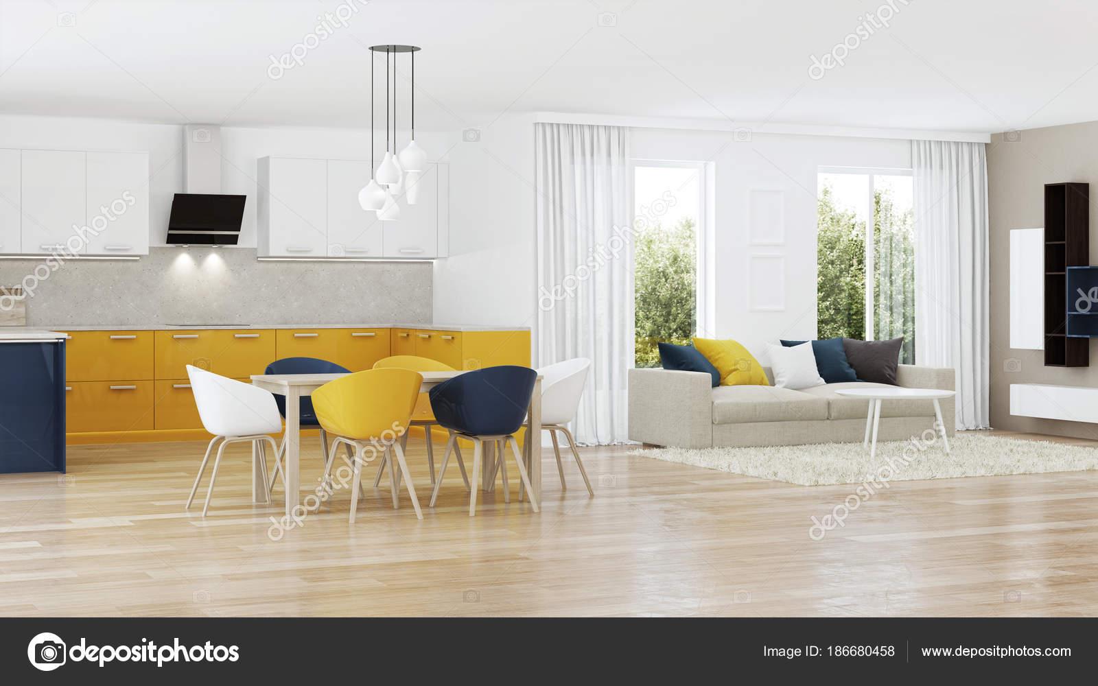 Interior Casa Moderna Com Cozinha Amarela Renderiza O Fotografias