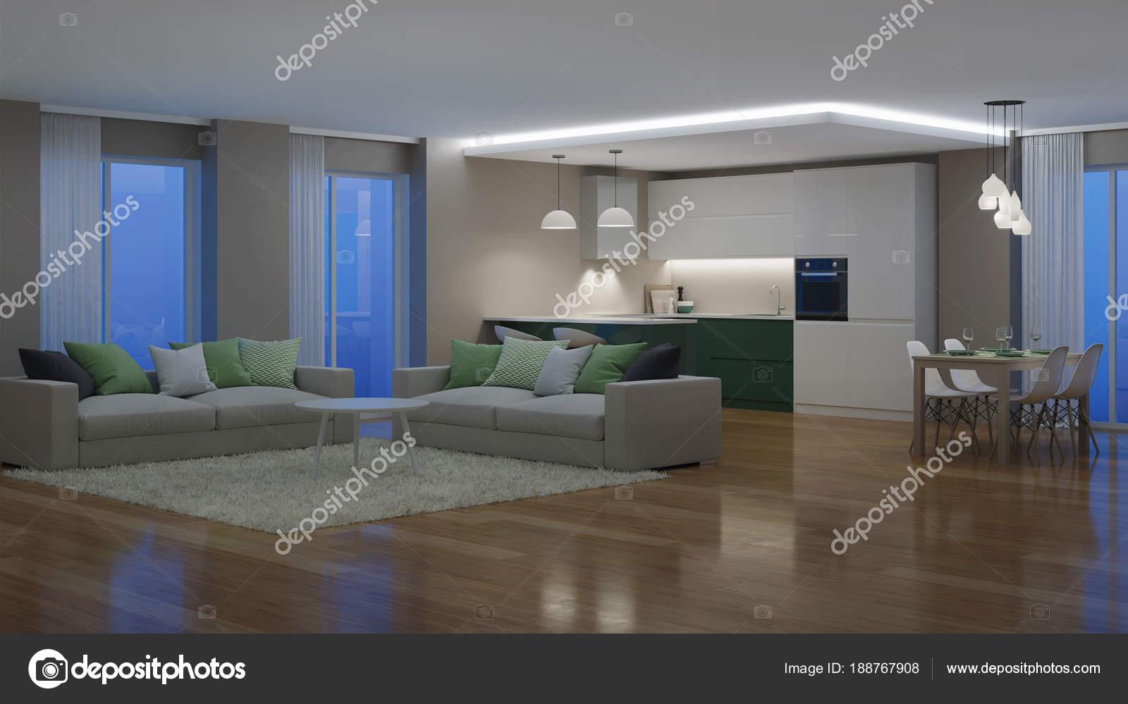Modernes Haus Innen Beleuchtung Abend Nacht Rendering — Stockfoto ...