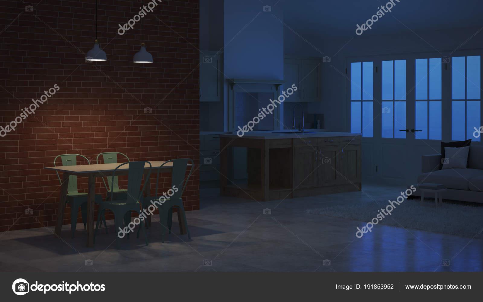 Interni Di Una Casa Di Campagna : Interni moderni una casa campagna notte rendering sera lighting