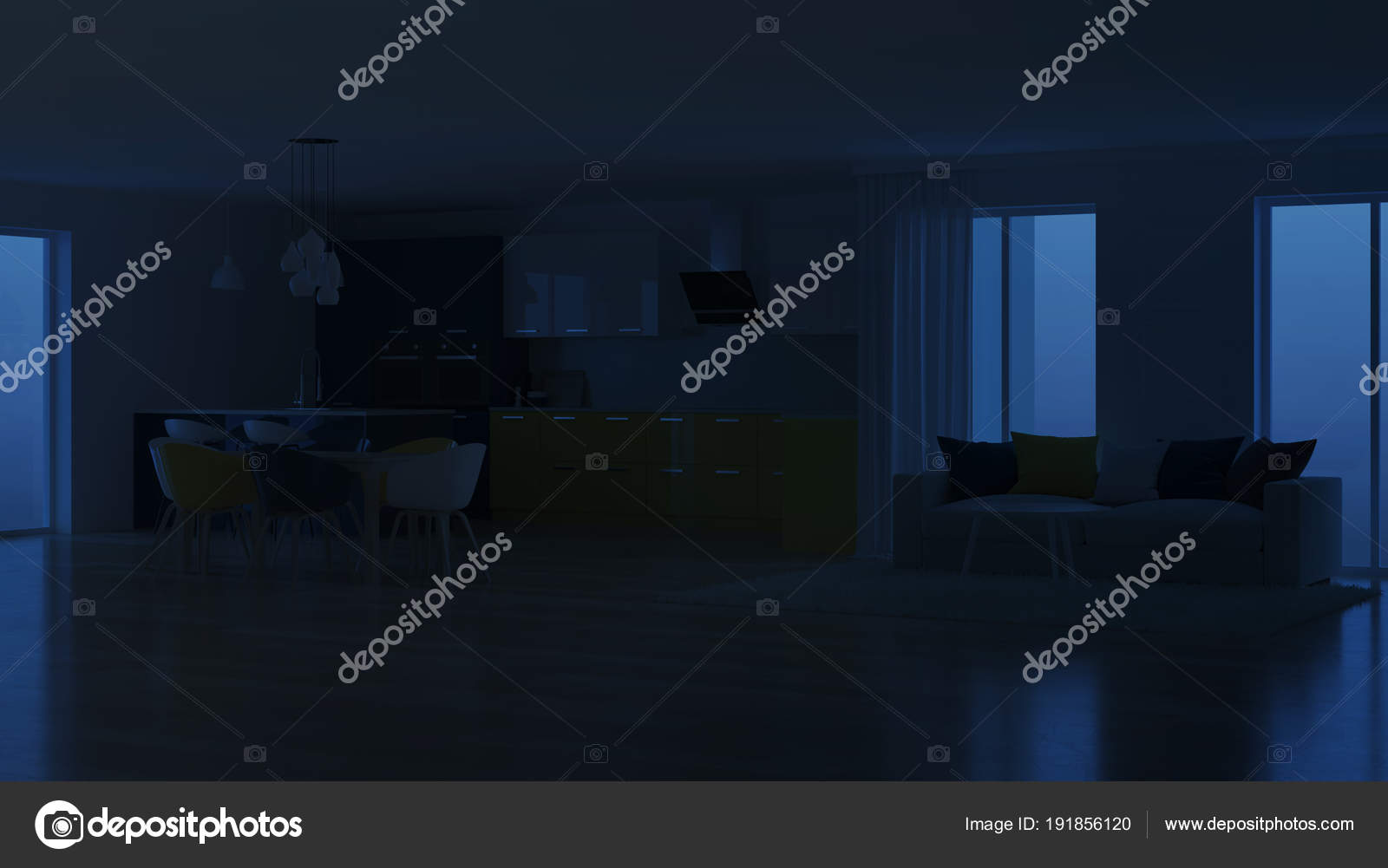 Interno casa moderna con giallo della cucina notte illuminazione