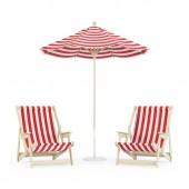Chaise longue con ombrello su priorità bassa bianca. rendering 3D
