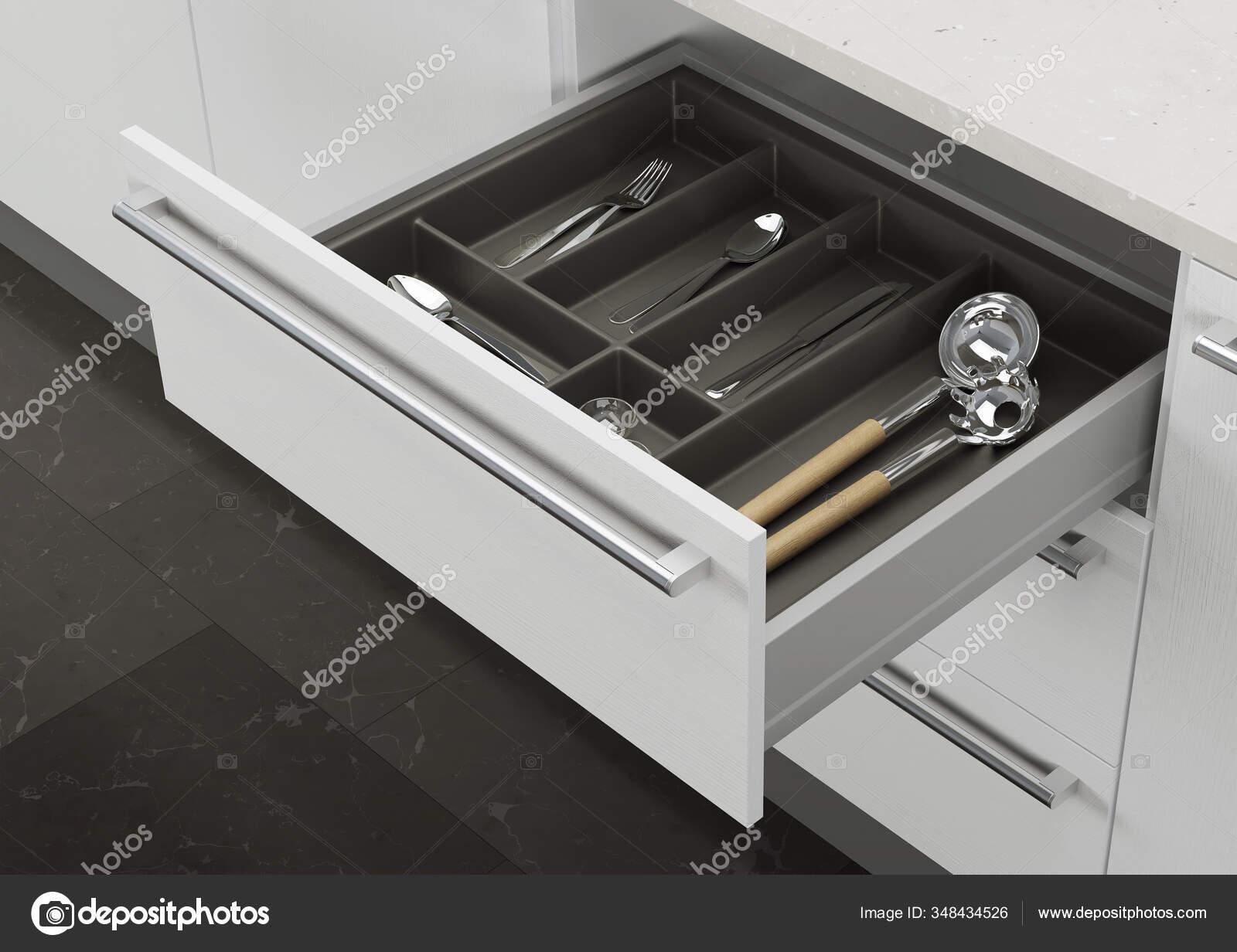 Open Kitchen Drawer Cooking Utensils Storage Organization Kitchen Rendering Stock Photo C Artemp1 348434526