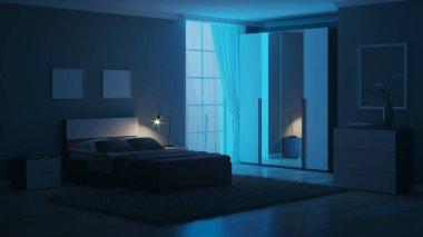 Modern interior of a bedroom with light green walls. Night. Evening lighting. 3D rendering.