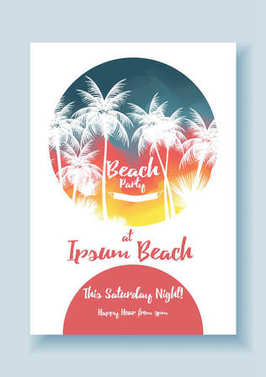 Summer Beach Party Poster Template - Vector Illustration