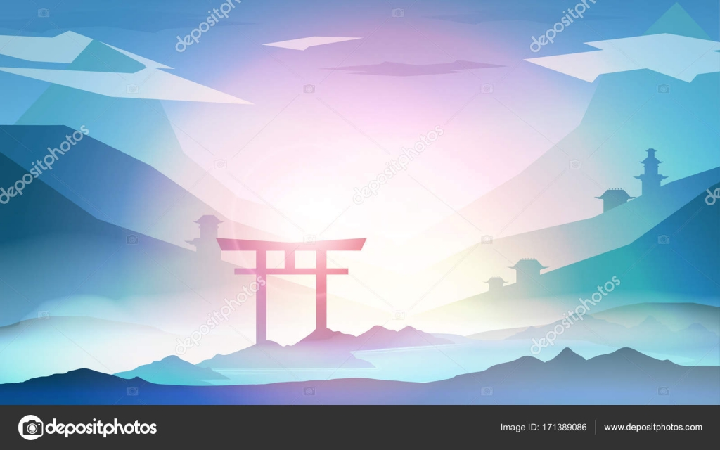 Japanese Landscape Background With Mountains And Arch Sunset Wit Stock Vector