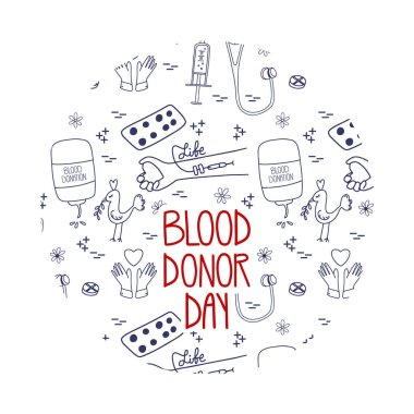 Blood donation vector. Doodle world donor day concept. Lifesaver campaign template graphic design. icon