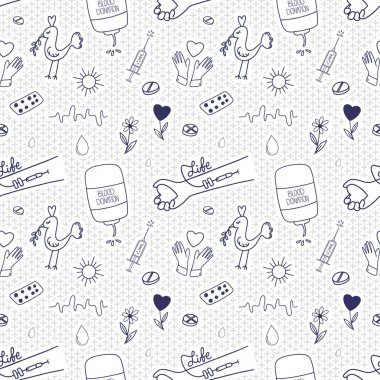 Blood donation seamless pattern. Doodle medical background to support donors. Vector illustration. icon