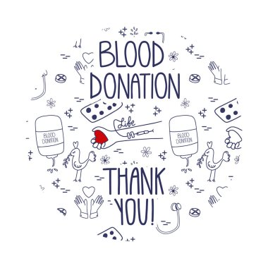 Blood donation vector. Doodle Thank you page website template. Lifesaver campaign graphic design. Site design with pattern background. icon