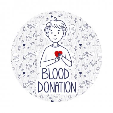 Vector Blood Donation page for donors website. Doodle concept with pattern background. Boy holds heart as a life metaphor. icon