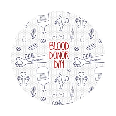 Vector World blood donor day. Doodle concept about donation, charity and support. Lifesaver campaign template graphic design. icon