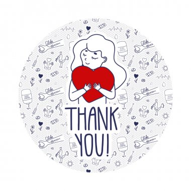 Vector Thank you page for blood donors website. Donation day doodle concept with pattern background. Girl holds heart as a metaphor of life. icon