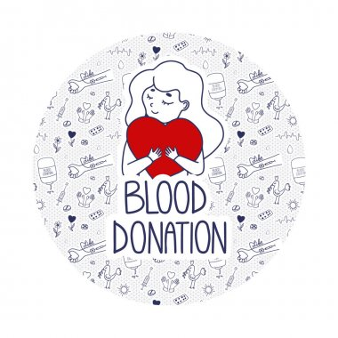 Vector Blood Donation page template for donors website. Doodle concept with pattern background. Girl holds heart as a metaphor of life. icon