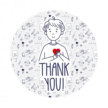 Vector Thank you page for blood donors website. Donation day doodle concept with pattern background. Boy holds heart as life metaphor. icon