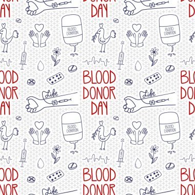 World Blood Donor Day seamless pattern. Doodle lifesaver donation campaign to support. Vector background. icon