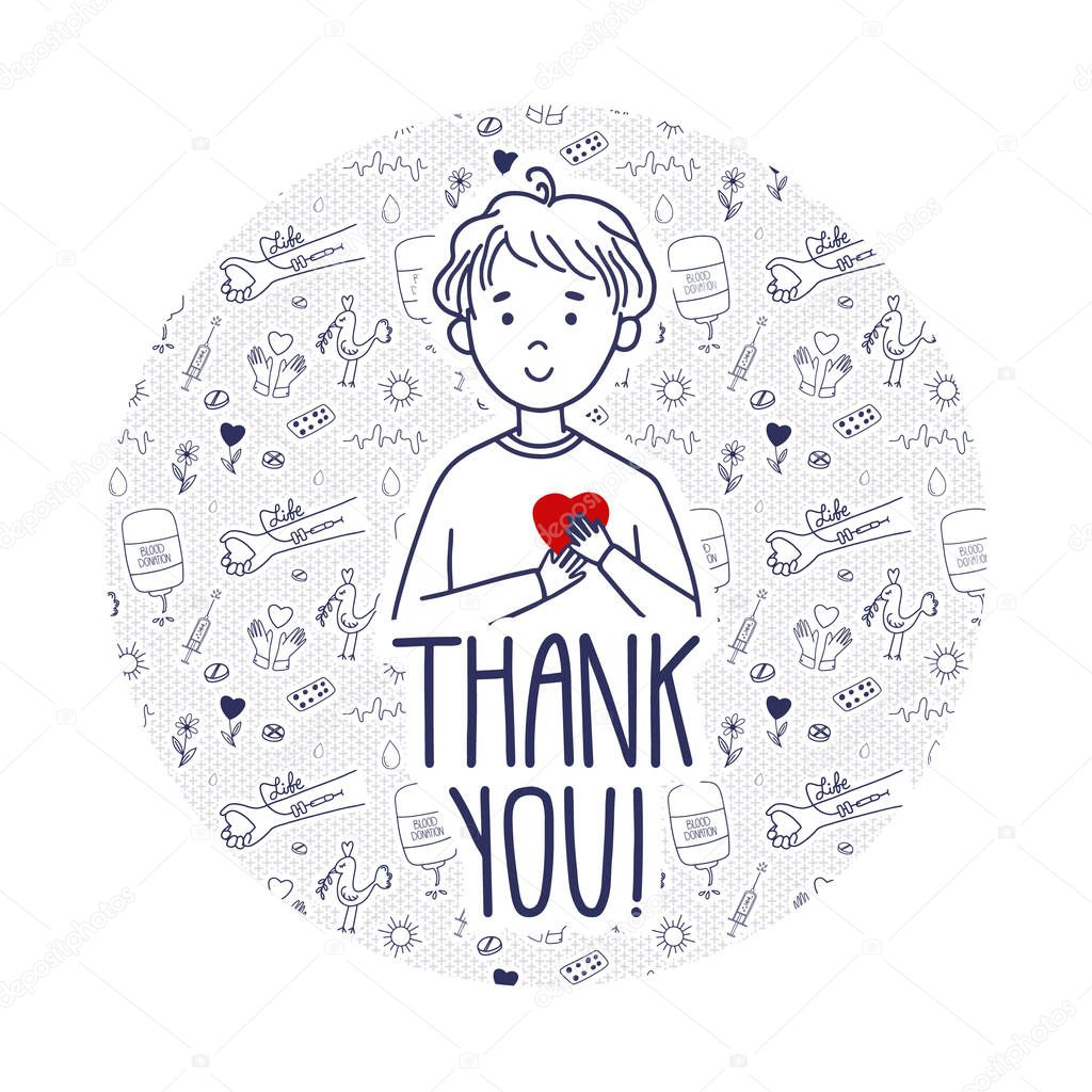 Vector Thank you page for blood donors website icon