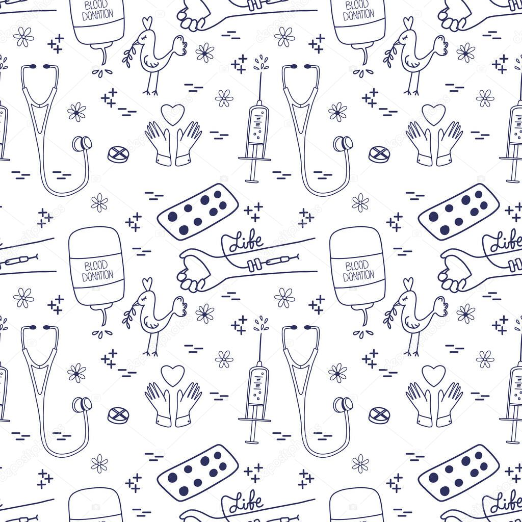 Blood donation seamless pattern in doodle style icon