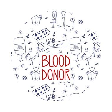 Blood donation landing page for website or mobile app. Doodle lifesaver campaign template graphic design. Website design with pattern background. icon
