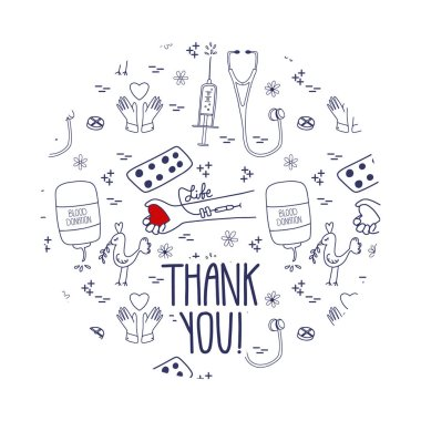 Vector Thank you page for blood donors website. Donation day doodle concept with pattern background. icon
