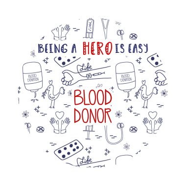 Doodle blood donation landing page for website or mobile app. Being a Hero is easy concept illustration. Blood donor lifesaver campaign template graphic design. Website design with pattern background icon