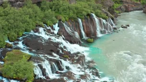 Aerial footage of Barnafoss Waterfall in Iceland