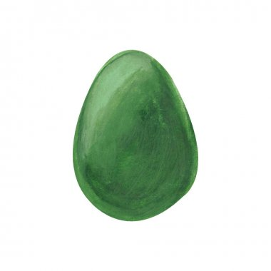 Green easter egg isolated on white background. Watercolor gouache hand drawn illustration. Happy easter holiday. Decor, design, decoration for greeting card, poster, scrapbooking