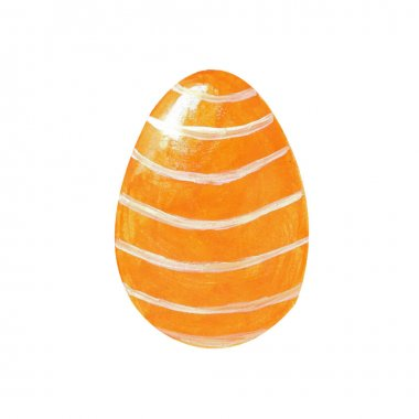 Orange easter egg with white ornament isolated on white background. Watercolor gouache hand drawn illustration. Happy easter holiday. Decor, design, decoration for greeting card, poster, scrapbooking
