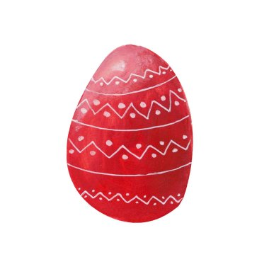 Red easter egg isolated with white ornament on white background. Watercolor gouache hand drawn illustration. Happy easter holiday. Decor, design, decoration for greeting card, poster, scrapbooking