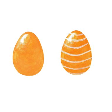 Set of two colored orange eggs with white ornament isolated on white background. Watercolor gouache hand drawn illusytrations. Happy Easter holiday celebrating. Decor for greeting post card