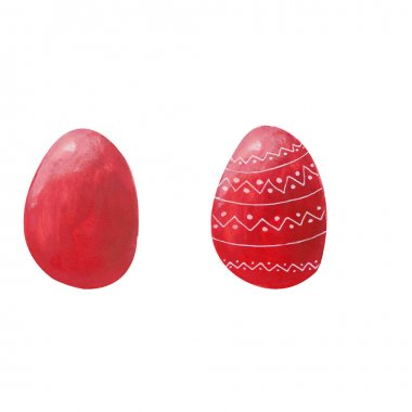 Set of two colored red eggs with white ornament isolated on white background. Watercolor gouache hand drawn illusytrations. Happy Easter holiday celebrating. Decor for greeting post card