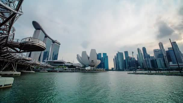 Timelapse of sunset at Marina bay area took with wide angle lense, Singapore, February 2019