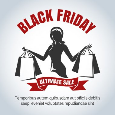Black Friday Sale Emblem with shopping woman