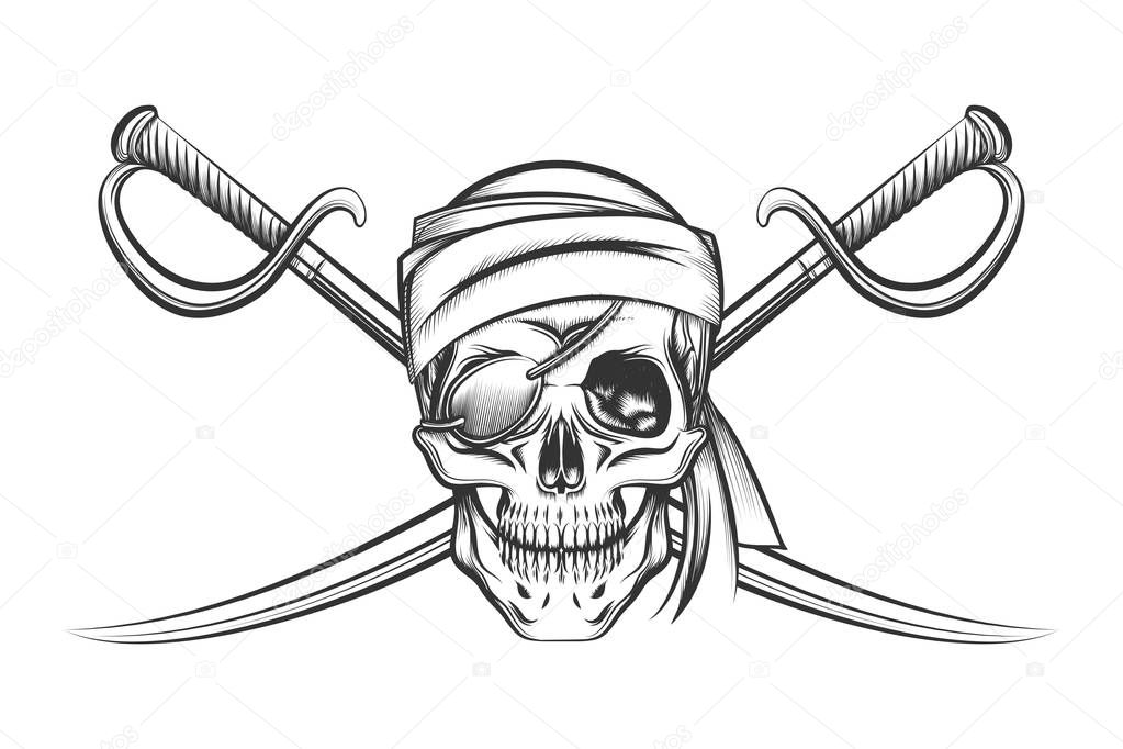Pirate Skull And Two Crossing Swords Stock Vector Bogadeva