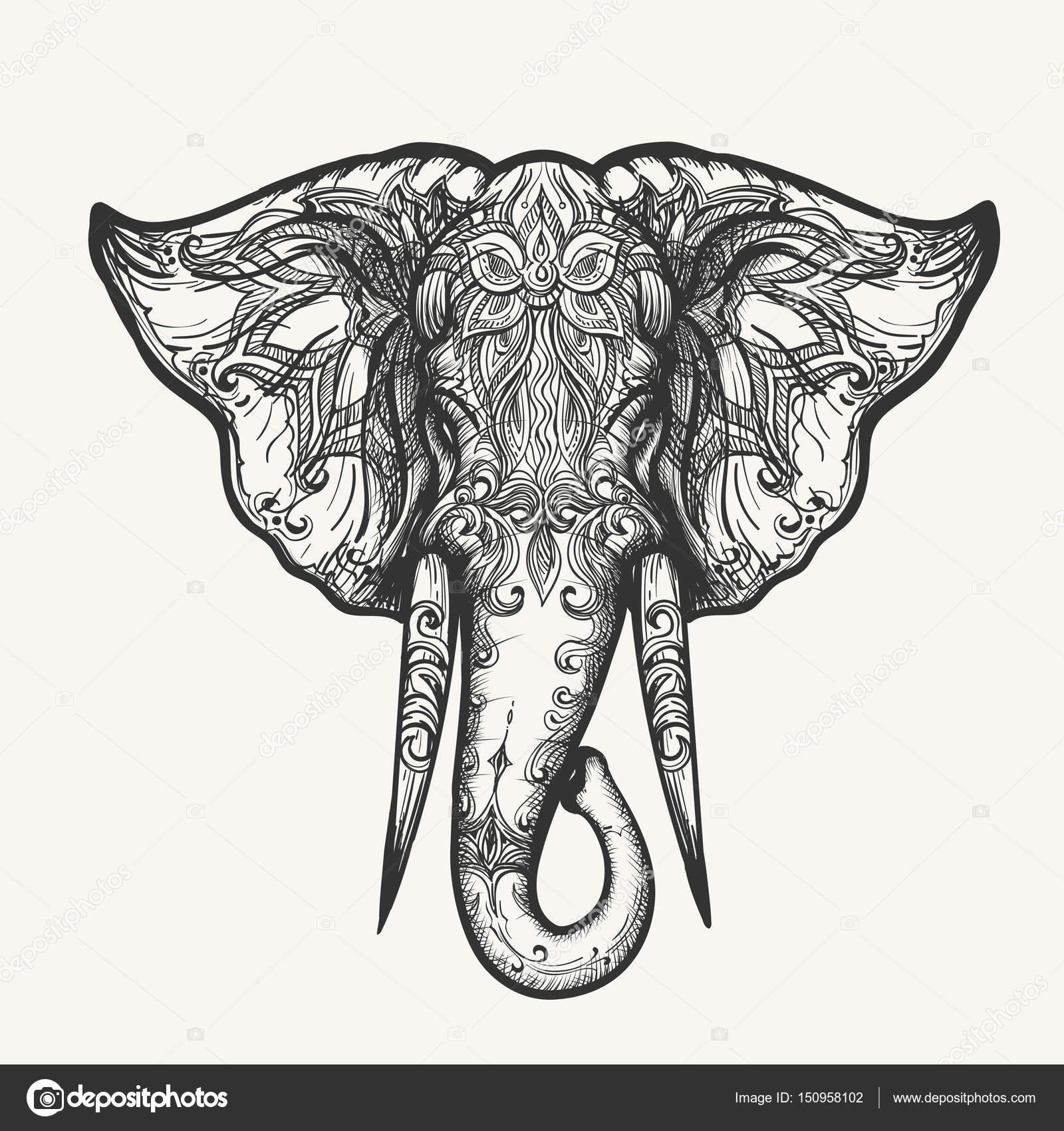 Elefant Kopf Zentangle Illustration — Stockvektor © bogadeva #150958102