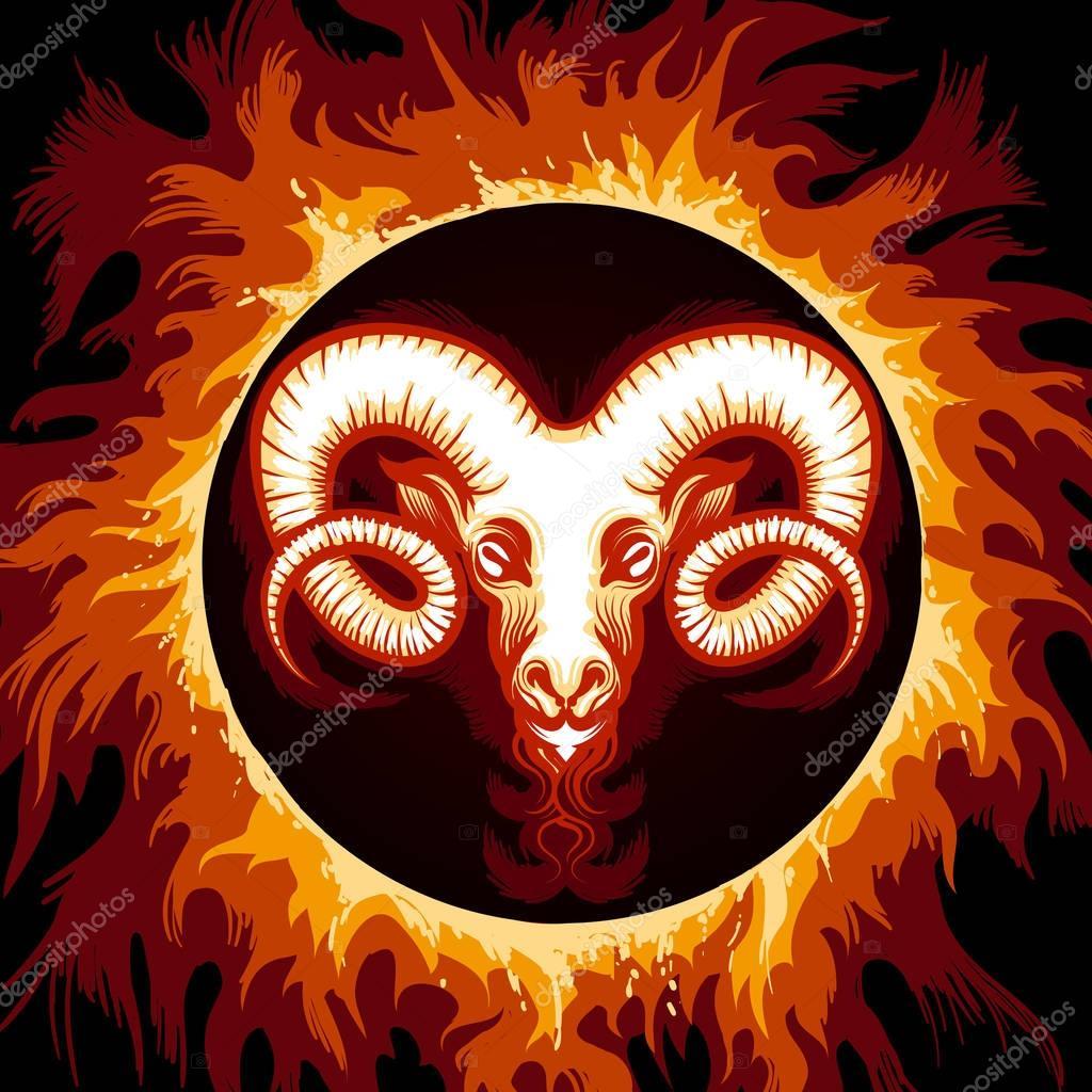 signe du zodiaque du belier dans le cercle de feu image