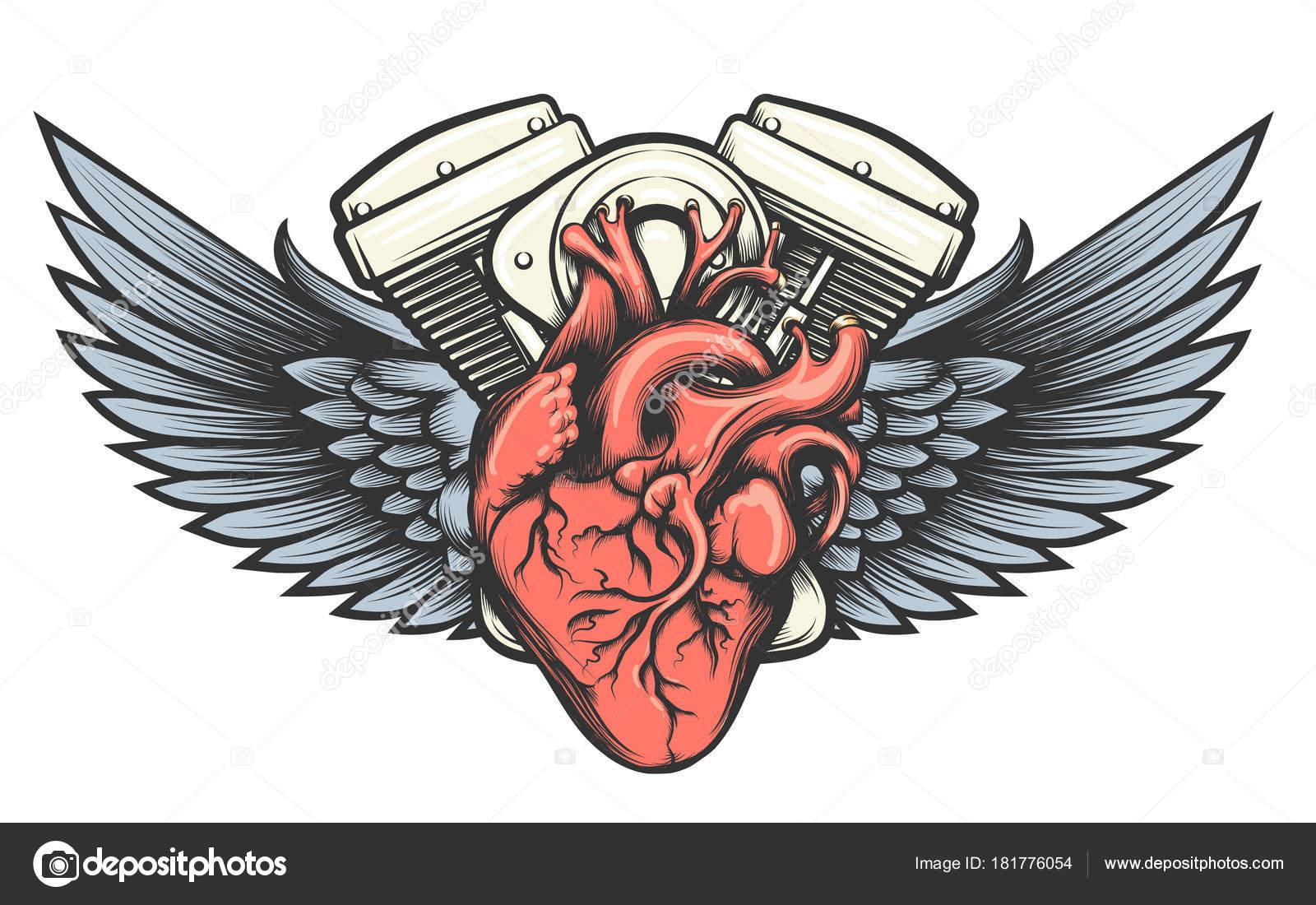 Tatouage De Coeur Moteur Image Vectorielle Bogadeva C 181776054