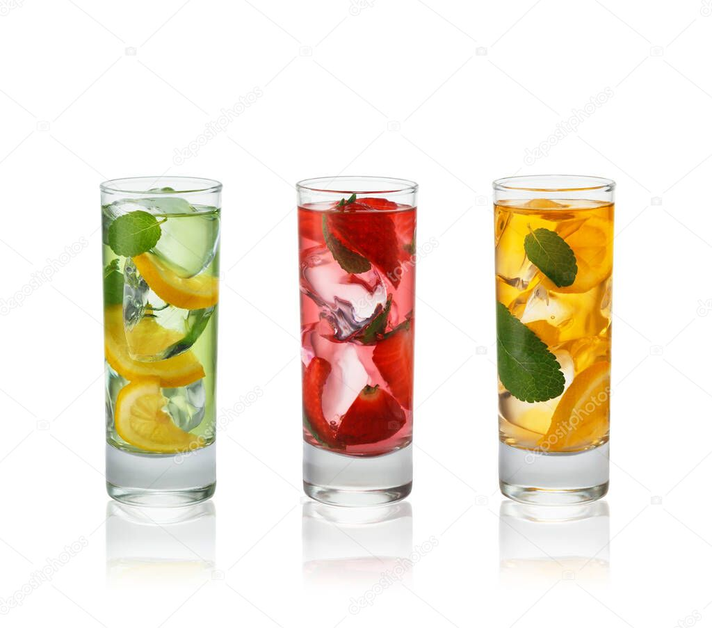 Fresh natural fruit  cocktails with straw on white background. stock vector