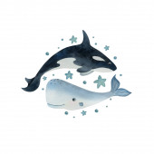 Watercolor hand-drawn illustration of sea animals on the white background. Cartoon killer whale and cachalot surrounded by stars. Ideal for postcards, posters, and kids decor.