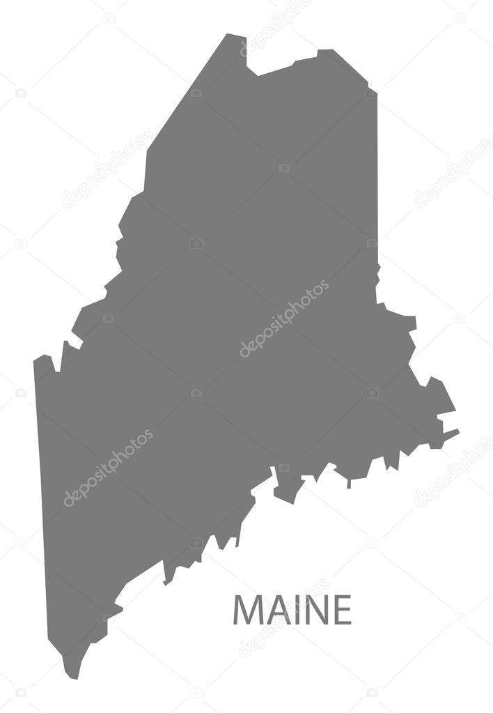 Maine USA Map grey — Stock Vector © ingomenhard #126837474 on