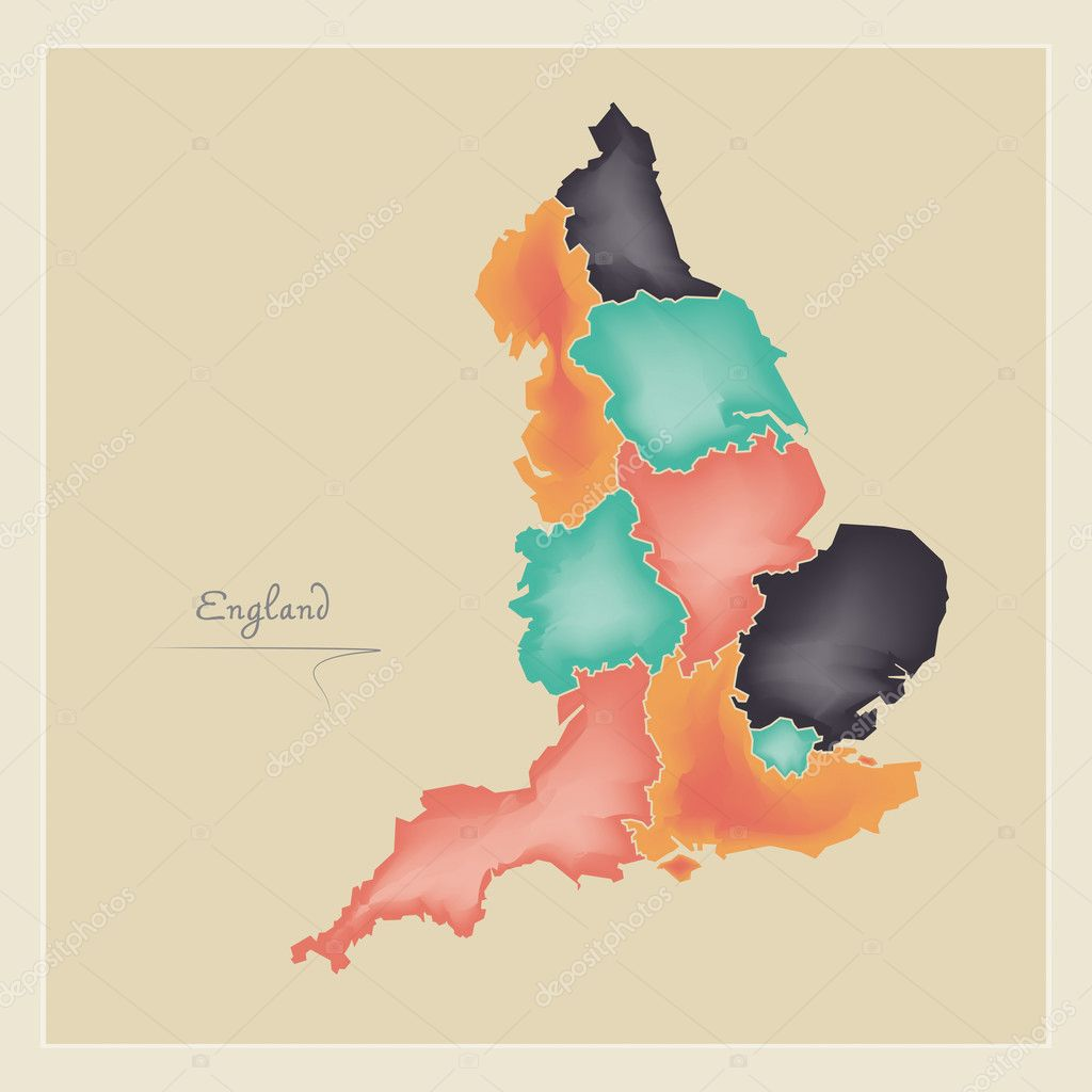 3d Map Of England.England Map Artwork 3d Color Illustration Stock Photo