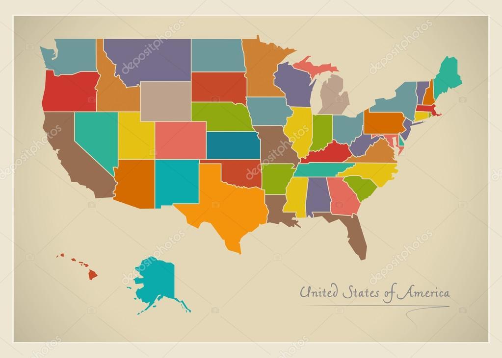 USA map artwork color illustration — Stock Photo ...